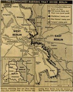 La carte d'époque des éléments fortifiés qui marquèrent la séparation de Berlin en 1961