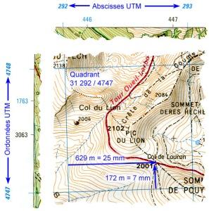 méthode positionnement UTM, avec carte topographique et GPS
