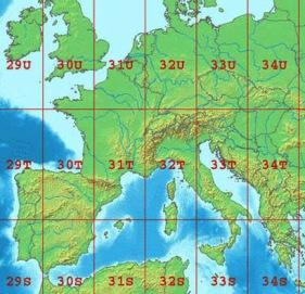 zone UTM pour orientation GPS avec carte topographique compatible
