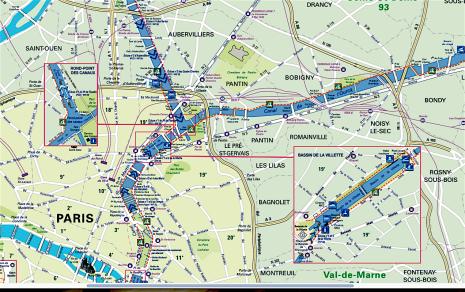 Canal St Martin, canal de Gennevilliers, canal de l'Ourcq
